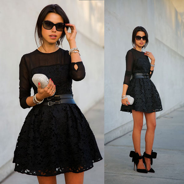 Robe patineuse noire soiree