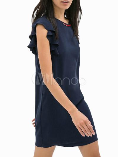 Robe droite bleu marine   Akiva 52d9433e23bb