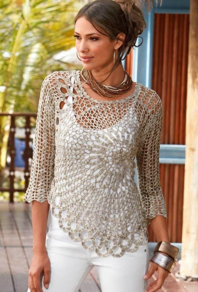 modele de pull femme au crochet gratuit