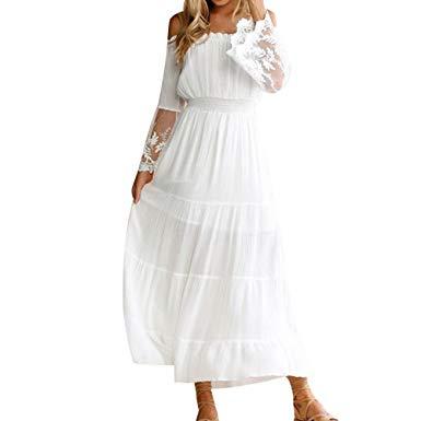 robe blanche longue dentelle boheme julie bas. Black Bedroom Furniture Sets. Home Design Ideas