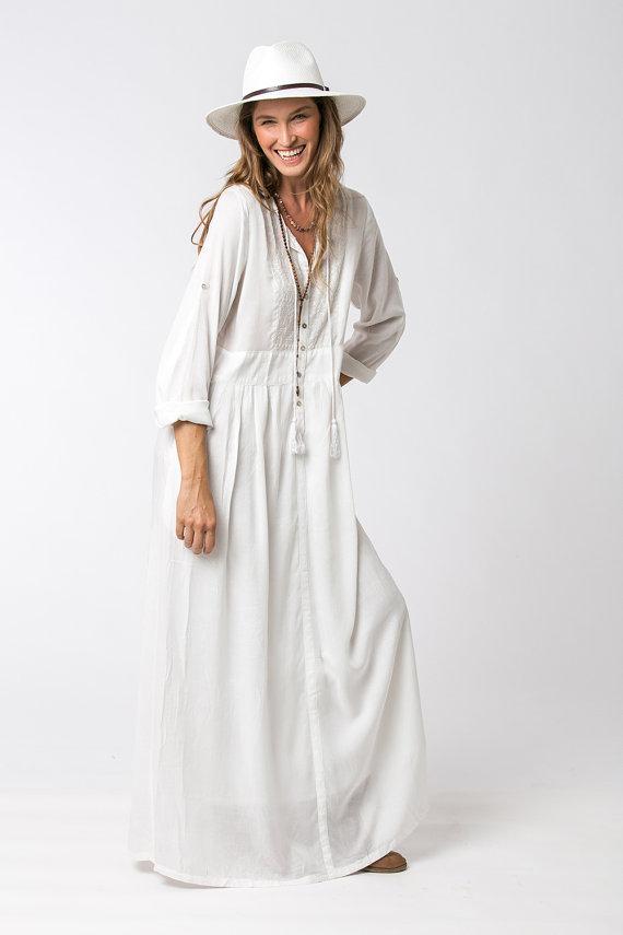 6bb44014349 Robe longue blanche boheme chic - julie bas