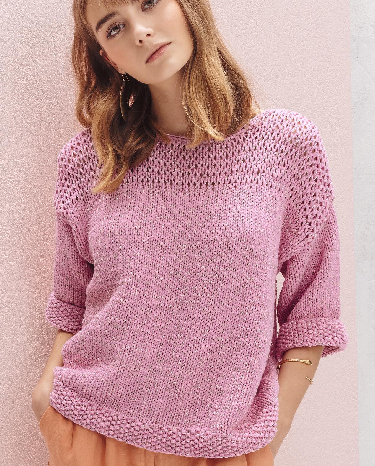 Modele tricot pull coton femme gratuit - julie bas