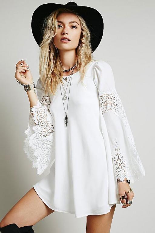 Robe blanche courte boheme