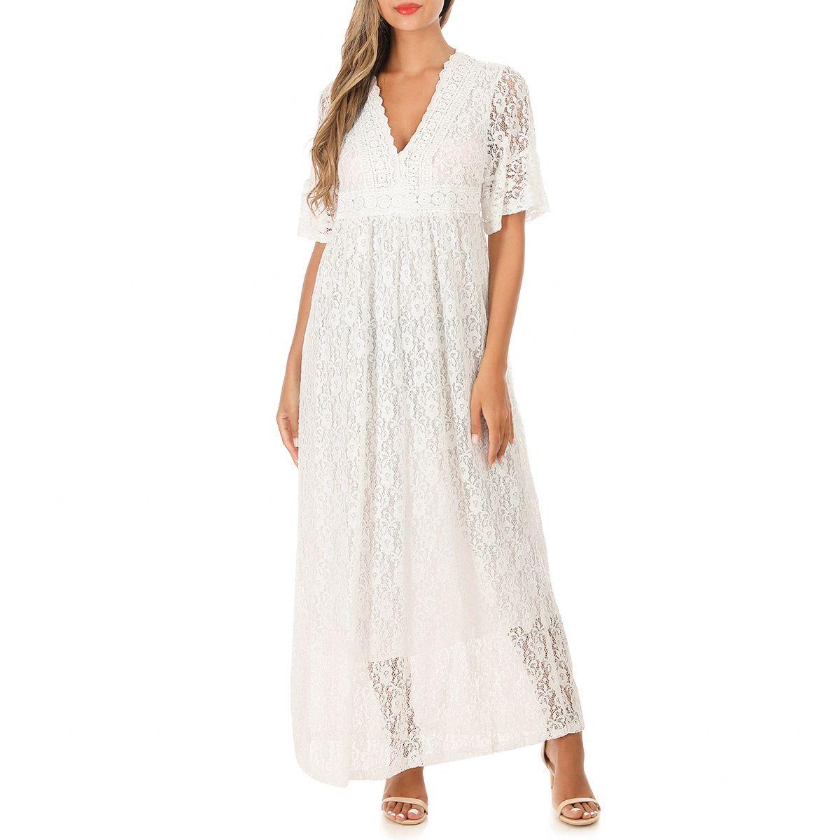 Robe blanche dentelle longue