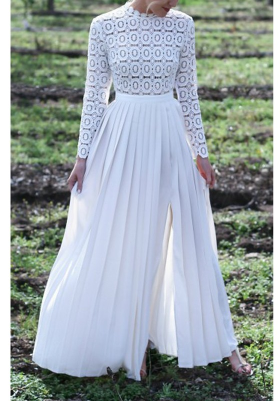 Robe blanche longue manches longues