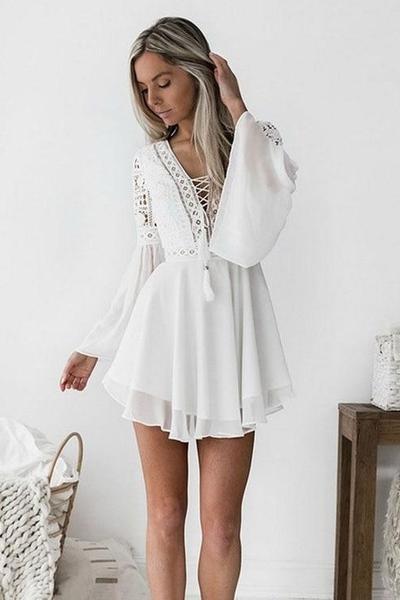 Robe courte blanche boheme