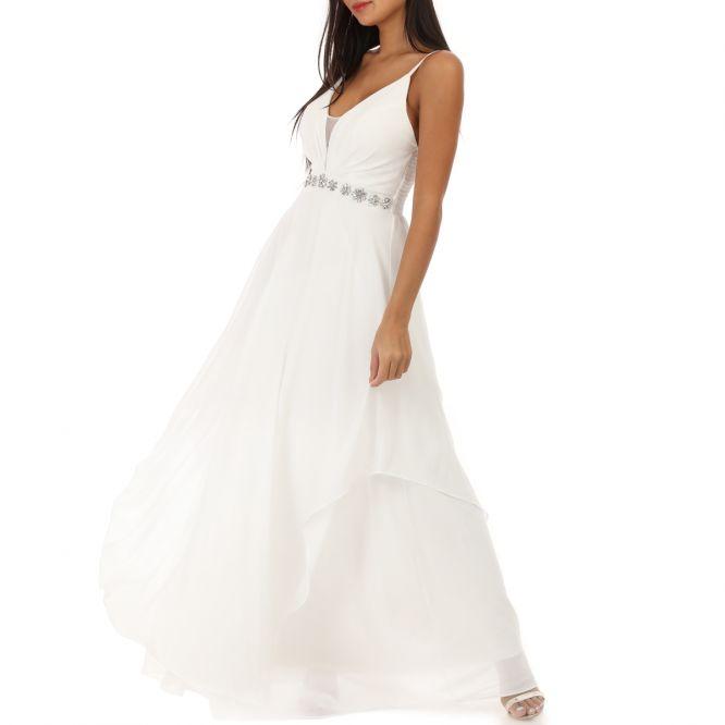 Robe longue blanche fluide