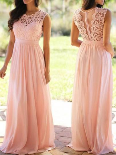 Robe longue rose
