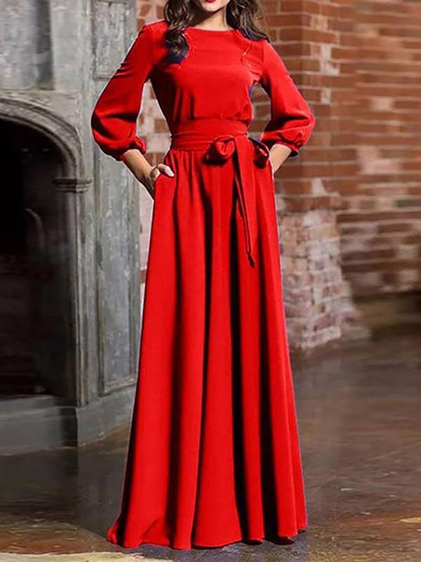 Robe longue rouge manche longue