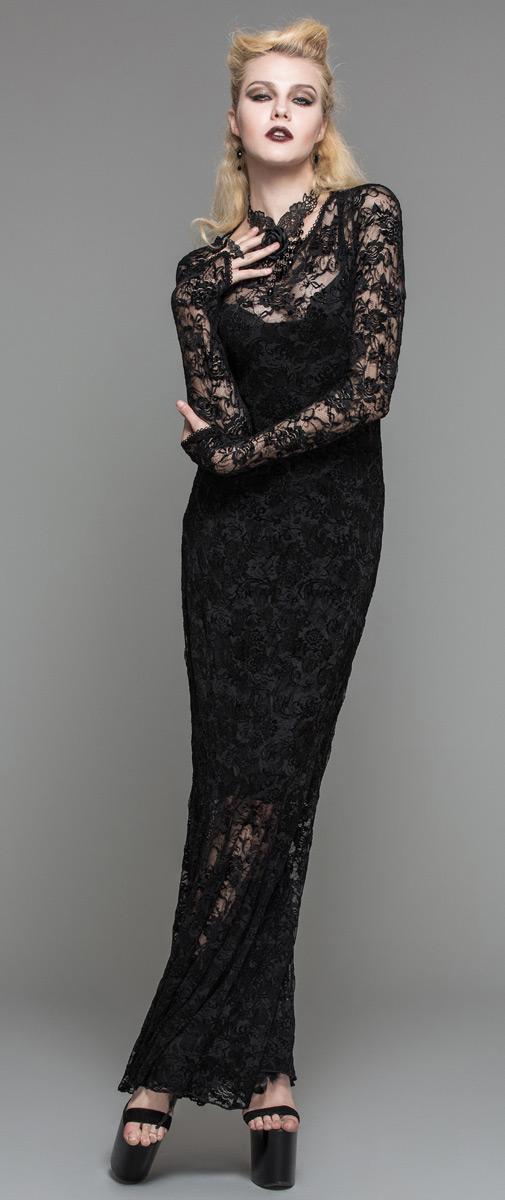Robe noir dentelle longue