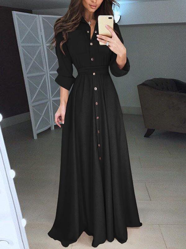 Robe noire longue manches longues