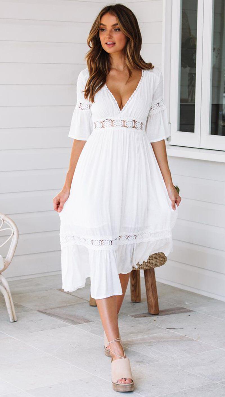 Longue robe blanche ete