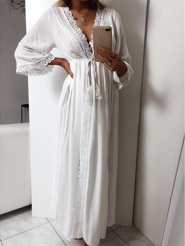Robe blanche fluide longue