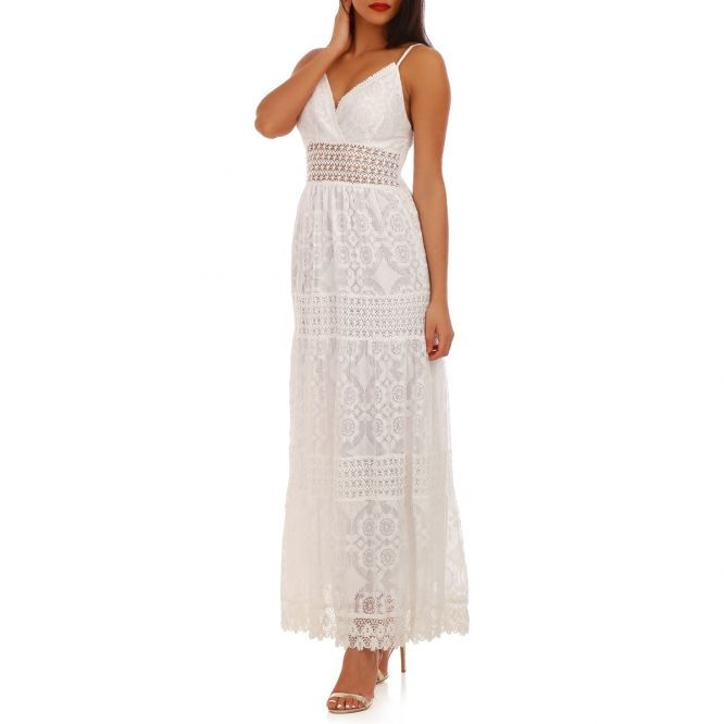 Robe blanche longue femme