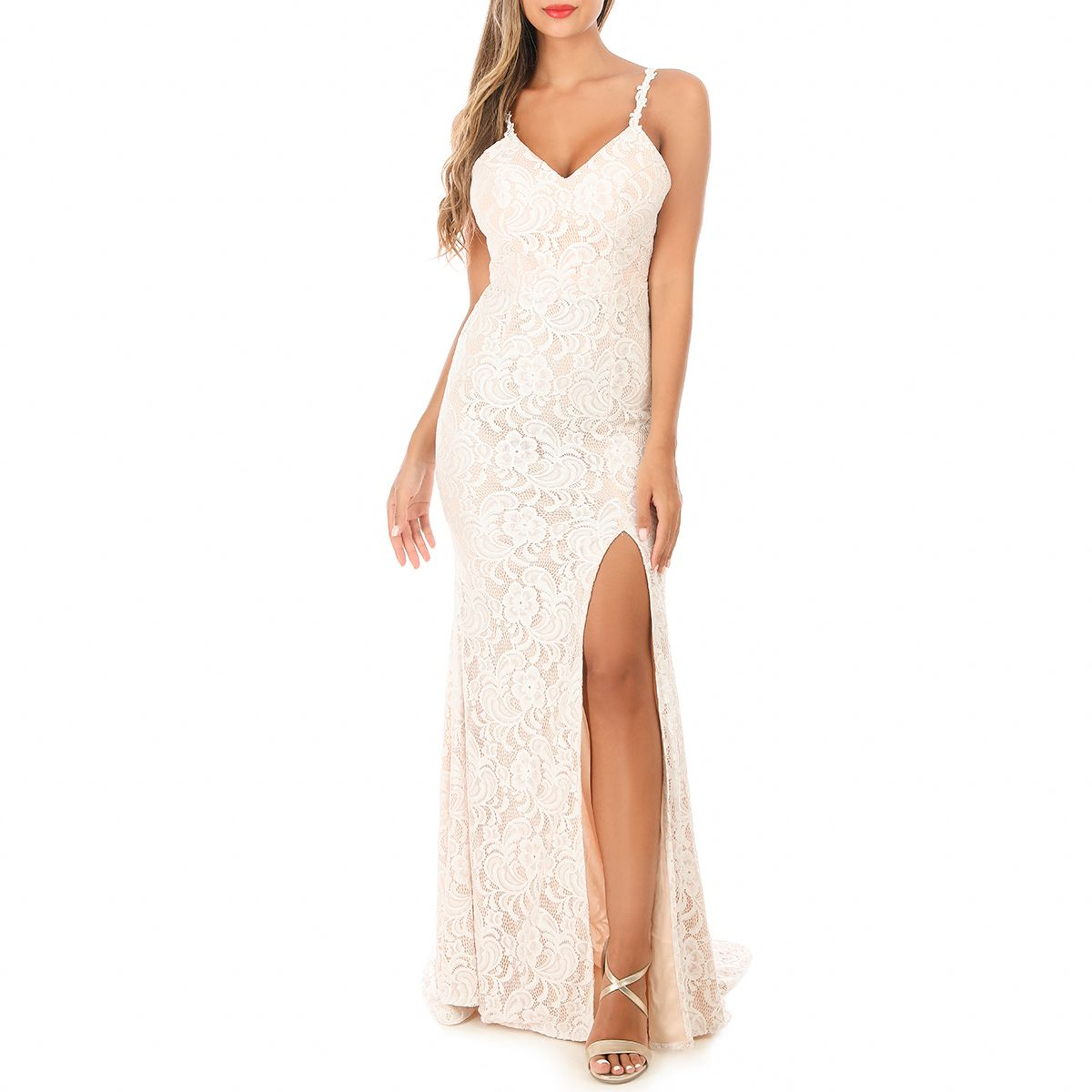 Robe blanche longue fendue