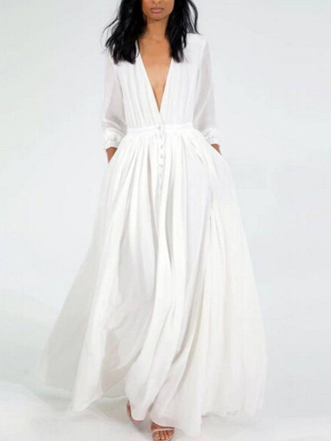 Robe blanche longue manche longue