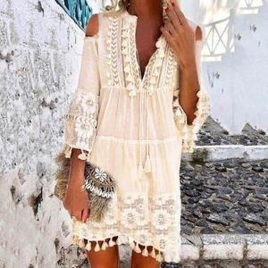 Robe boheme dentelle blanche