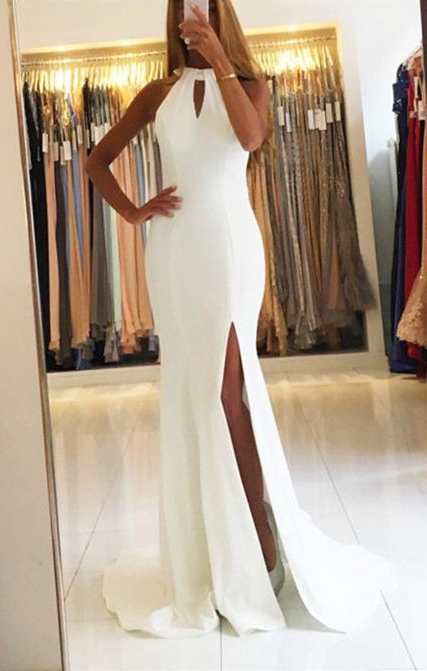 Robe de soirée longue blanche pas cher