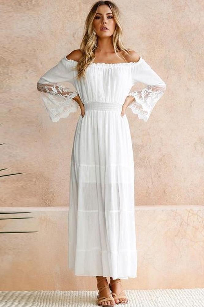 Robe longue blanche ete