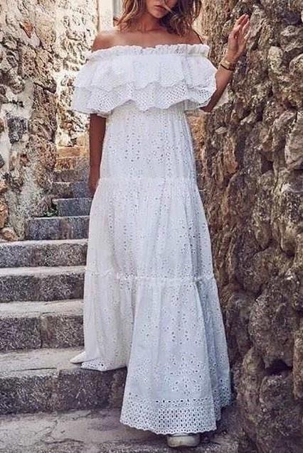 Robe longue blanche style boheme