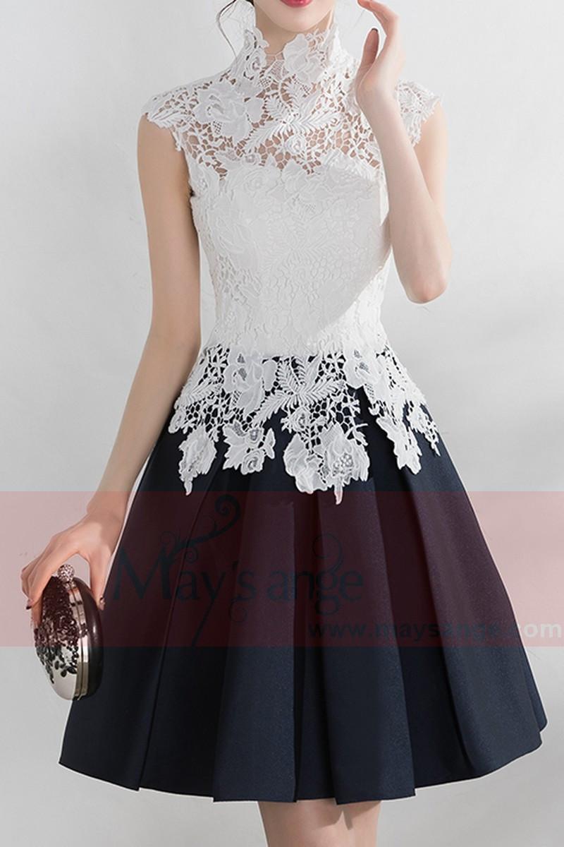 Robe noir et blanche dentelle