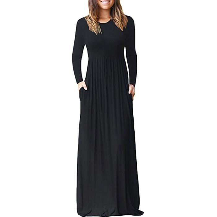 Robes longues noires manches longues