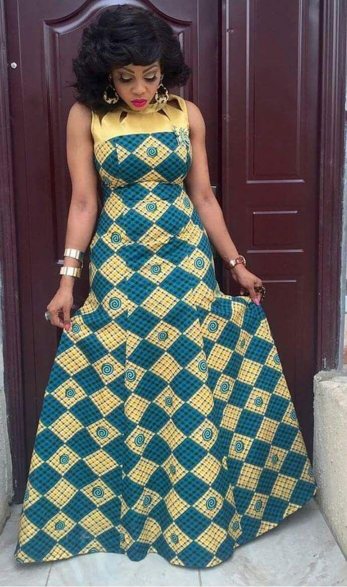 Modèle robe longue en tissu pagne