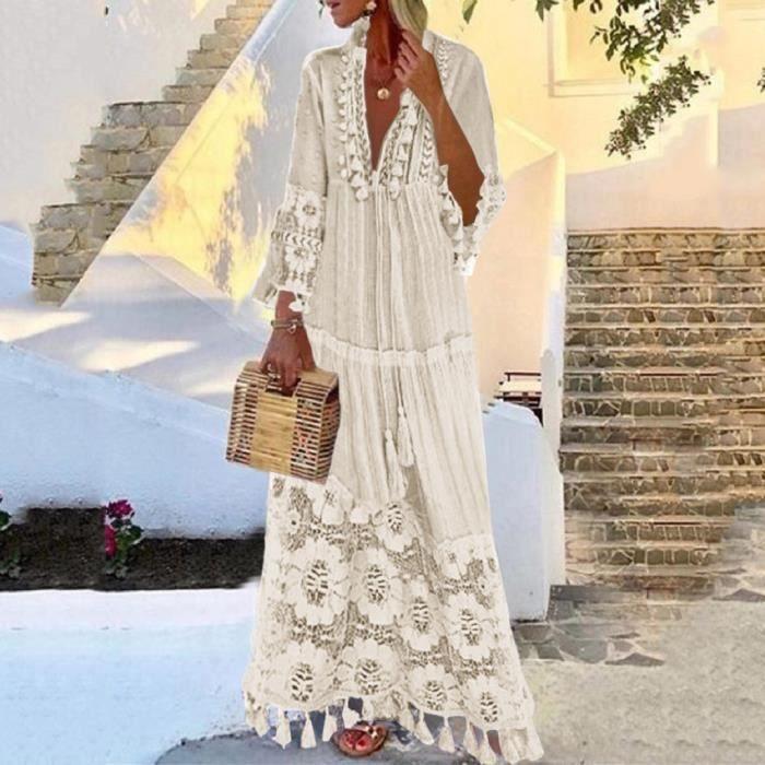 Robe blanche longue dentelle boheme