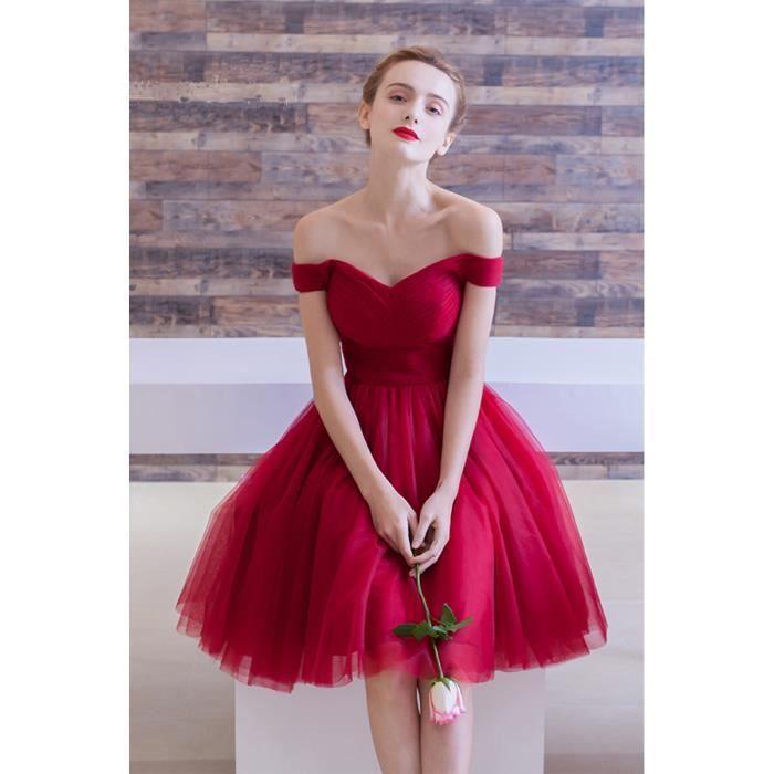 Robe de soirée rouge courte