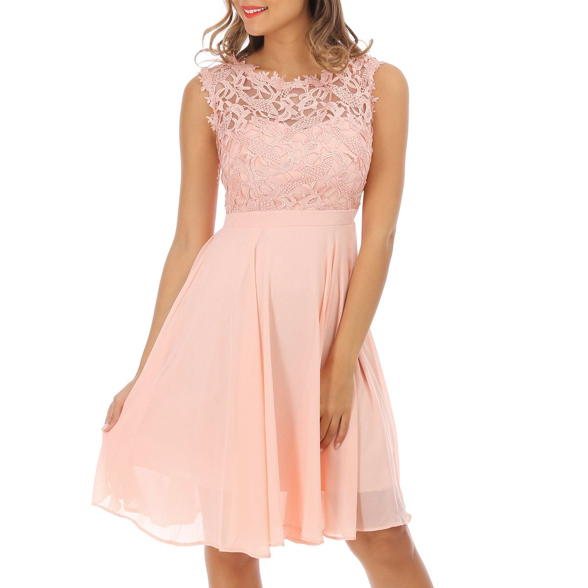 Robe dentelle rose pale