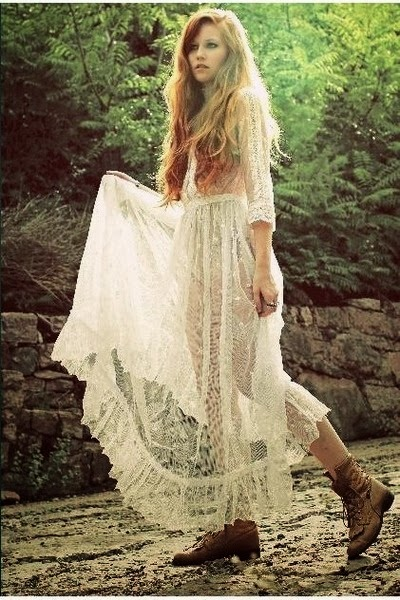 Robe longue dentelle vintage