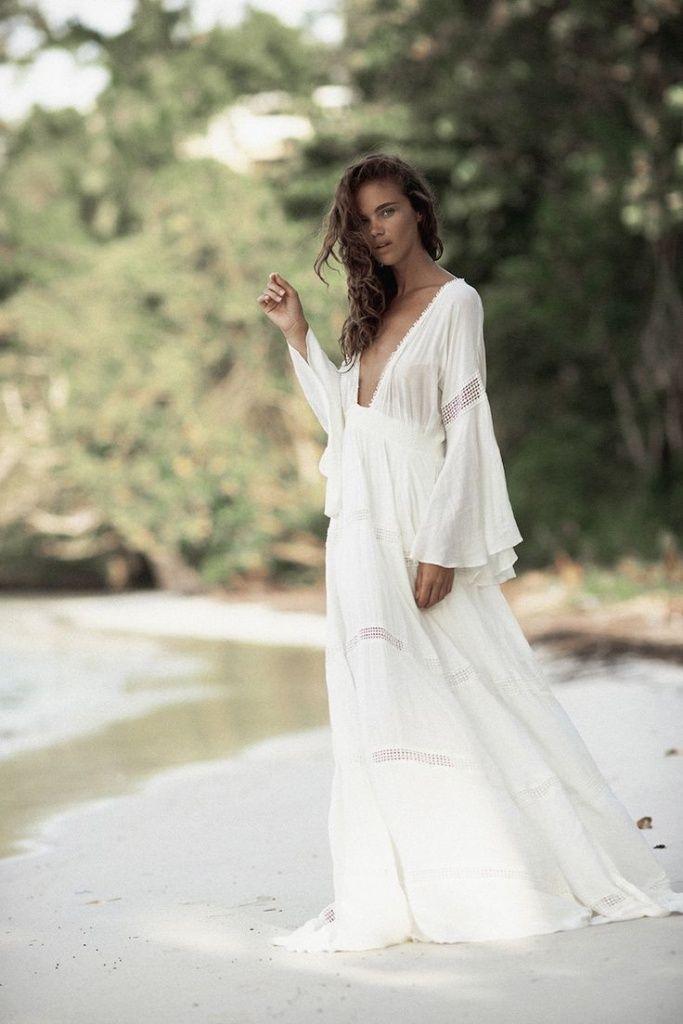Robes blanches hippie chic boheme